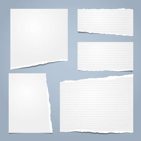 White ripped notebook paper, torn lined note paper for text or message stuck on blue background. Vector illustration.