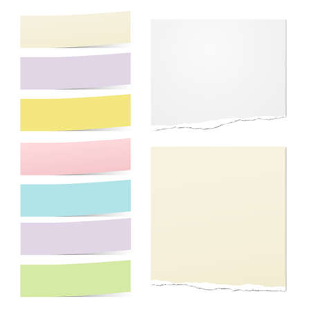 White ripped notebook paper, colorful note paper strips for text or message are on white background. Vector illustration.