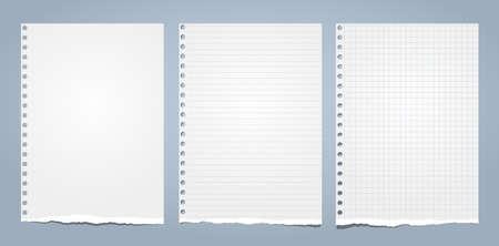 El papel de cuaderno rasgado blanco, el papel de nota rasgado para el texto o el mensaje están sobre fondo azul. Ilustración vectorial. Ilustración de vector