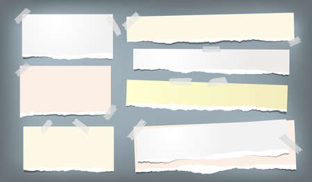 Colorful ripped notebook paper, torn note paper strips stuck on blue background. Vector illustration.