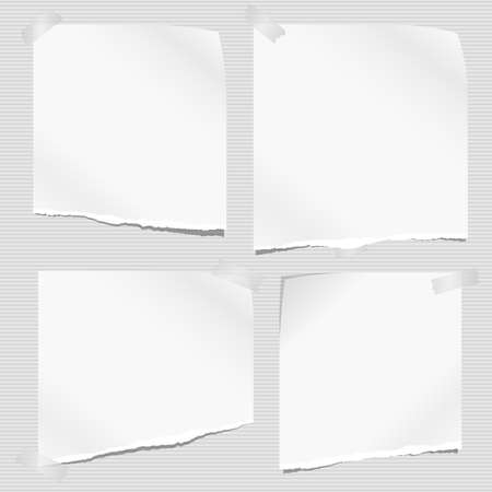 White ripped, torn note, notebook paper stuck on grey lined background. Vector illustration.