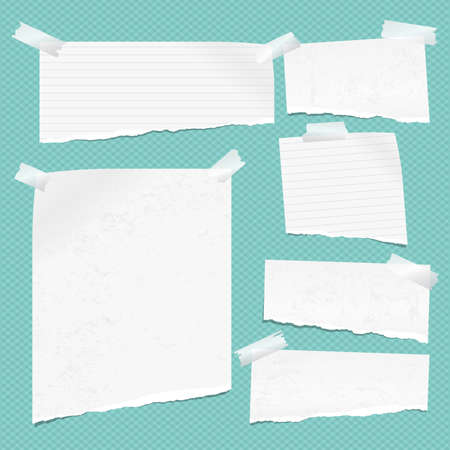 White ripped notebook paper, torn note paper strips stuck on turquoise squared background. Vector illustration.