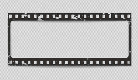 Black scratched horizontal grunge film strip with shadow on squared background. Vector illustration