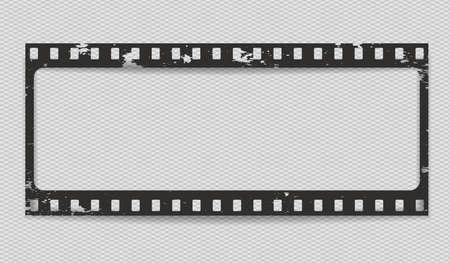 Tira de película de grunge horizontal rayada negra con sombra sobre fondo cuadrado. Ilustración vectorial