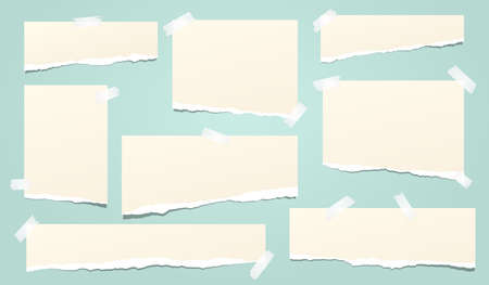 Set of beige ripped notebook paper, torn note paper strips stuck on turquoise background. Vector illustration.