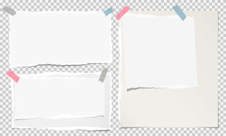 White ripped notebook paper, torn note paper strips stuck on squared grey background. Vector illustration.