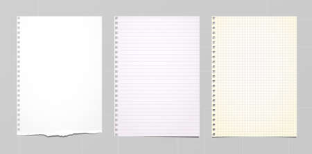 White, colorful ripped notebook paper, note paper stuck on grey background. Vector illustration.