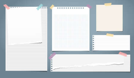 Set of white ripped notebook paper, torn note paper strips stuck with colorful sticky tape on blue background. Vector illustration.