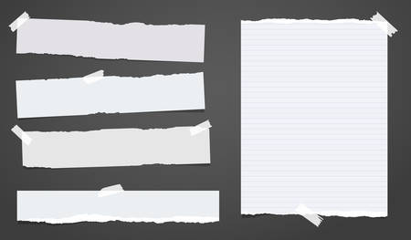 Set of white ripped notebook paper, torn note paper strips stuck with sticky tape on black background. Vector illustration.