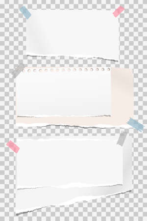 Set of white ripped notebook paper, torn note paper strips stuck with colorful sticky tape on squared background. Vector illustration. Ilustração