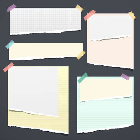 Set of white and colorful ripped notebook paper, torn note paper strips stuck with sticky tape on black background. Vector illustration.