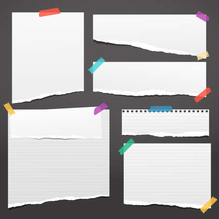 Set of white ripped notebook paper, torn note paper strips stuck with colorful sticky tape on black background. Vector illustration. Illustration