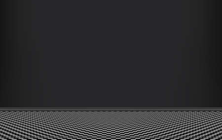 Room with black wall and squared pattern floor, interior of empty living room, vector illustration.