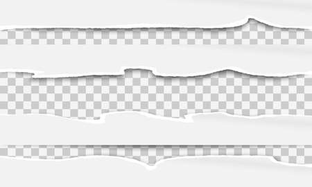 White ripped horizontal paper strips for text or message are on squared background. Vector illustration