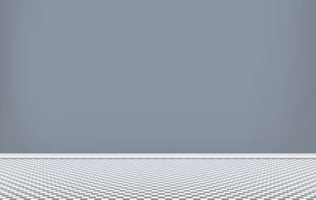 Room with dark blue wall and squared pattern floor, interior of empty living room, vector illustration