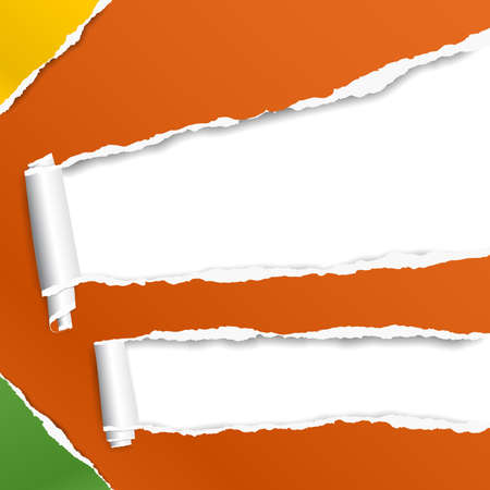 Rolled and ripped orange paper sheet for text. Vector illustration.