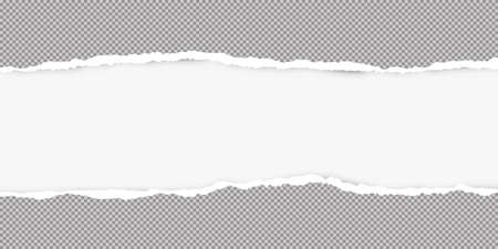 Ripped squared grey paper for text or message are on white background. Vector illustration.