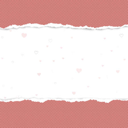 Ripped squared red horizontal paper for text or message are on white background with love, heart pattern. Vector illustration. 矢量图像