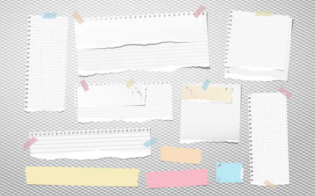 Colorful and white ripped lined notebook paper, torn note paper strips stuck on squared background. Vector illustration. Ilustração