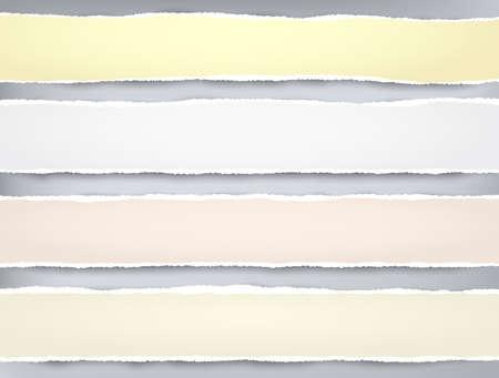Las tiras de papel rosa y amarillo rasgadas para texto o mensaje están sobre fondo gris. Ilustración vectorial.