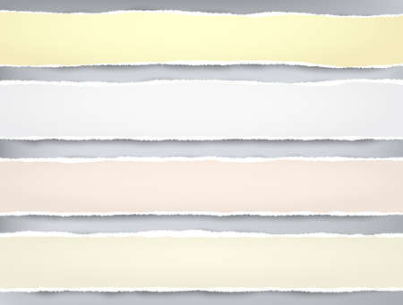 Ripped yellow, pink paper strips for text or message are on grey background. Vector illustration.