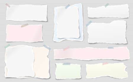 Set of white and colorful ripped notebook paper, torn note paper strips stuck with sticky tape on lined background. Vector illustration. Ilustração
