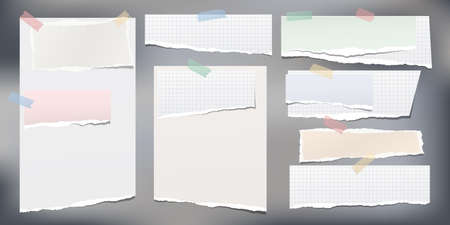 Set of white and colorful ripped notebook paper, torn note paper strips stuck with sticky tape on grey background. Vector illustration.