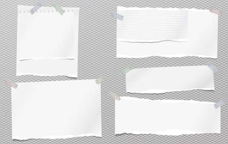 Set of white ripped notebook paper, torn note paper strips stuck with sticky tape on squared grey background. Vector illustration.