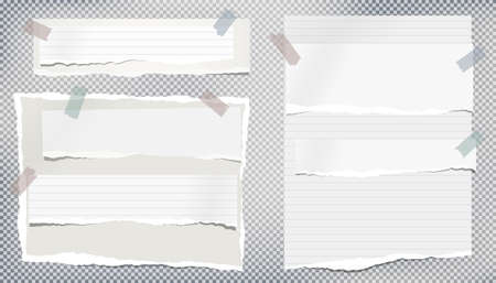 Set of white ripped notebook paper, torn note paper strips stuck with sticky tape on grey background. Vector illustration.