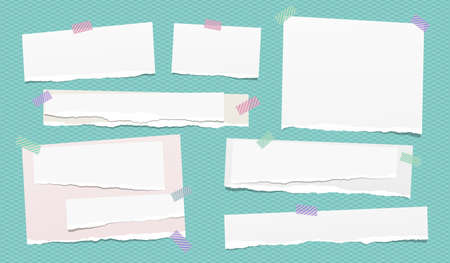Set of white ripped notebook paper, torn note paper strips stuck with colorful sticky tape on squared turquoise background. Vector illustration. Ilustração