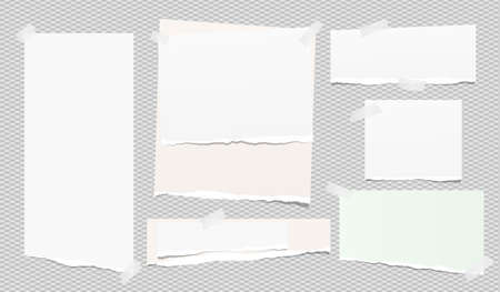 Set of white ripped notebook paper, torn note paper strips stuck with sticky tape on squared grey background. Vector illustration
