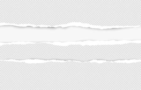 Ripped squared horizontal white paper strips for text or message are on white background. Vector illustration.