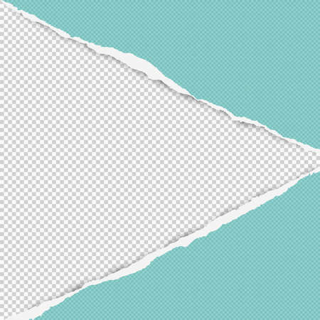 Torn squared turquoise paper in corners are on background with space for text. Vector illustration.