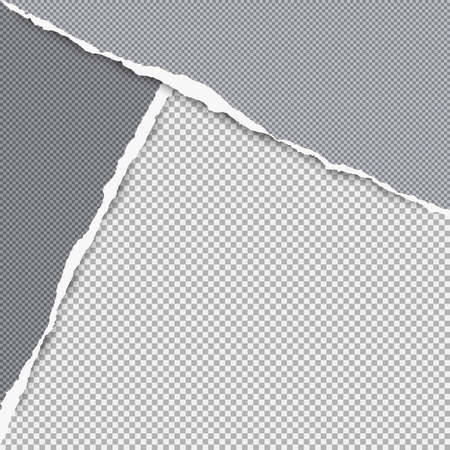 Torn squared dark grey paper in corners are on background with space for text. Vector illustration.