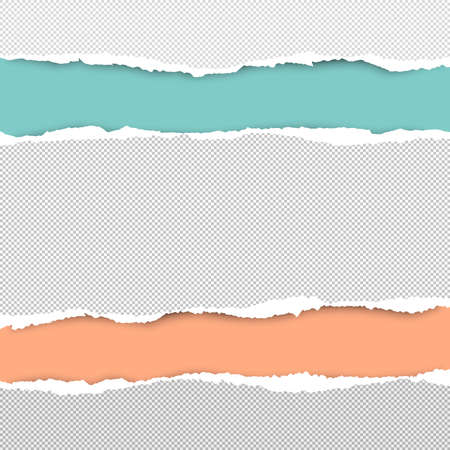 Torn squared white horizontal paper strips are on colorful background with space for text. Vector illustration.