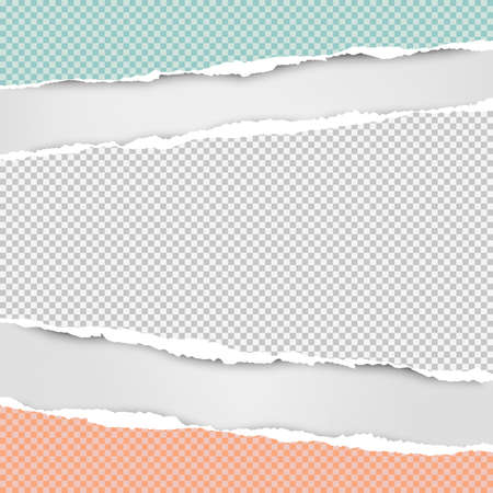 Torn squared white, green, pink horizontal paper strips are on grey background with space for text. Vector illustration. Ilustração