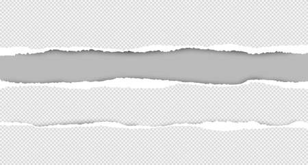 Set of torn squared white horizontal paper are on grey background with space for text. Vector illustration.