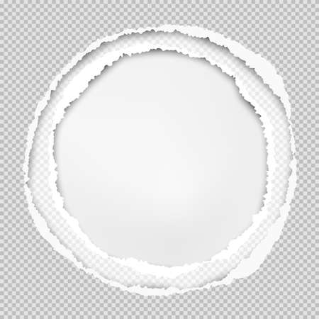 Squared grey paper, round composition with torn edges and soft shadow are on white background. Vector illustration.