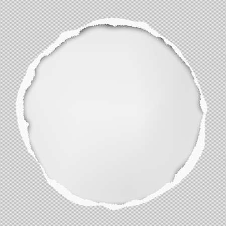 La composición de papel redondo con bordes rasgados y sombra suave está sobre fondo blanco. Ilustración de vector.