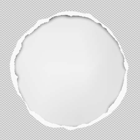 Okrągła kompozycja papieru z podartymi krawędziami i miękkim cieniem jest na białym tle. Ilustracja wektorowa.