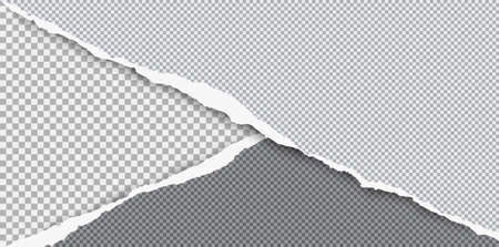 Torn squared grey paper in corners are on background with space for text. Vector illustration.