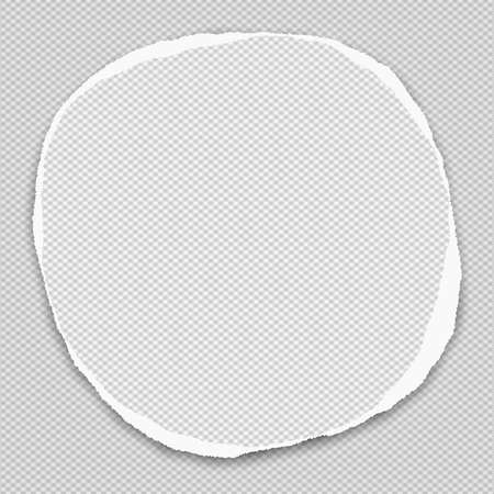 Round paper with torn edges in center of squared background. Vector illustration.