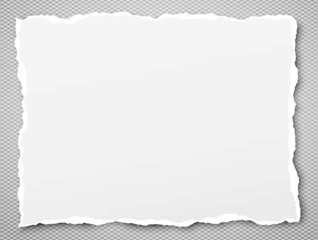 White ripped notebook paper, torn note paper stuck on grey squared background with soft shadow. Vector illustration.