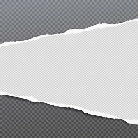 Torn white, squared and horizontal paper strip with soft shadow is on grey background. Vector illustration background.