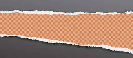 Torn, squared and orange horizontal paper strip with soft shadow is on black background. Vector illustration. Illustration