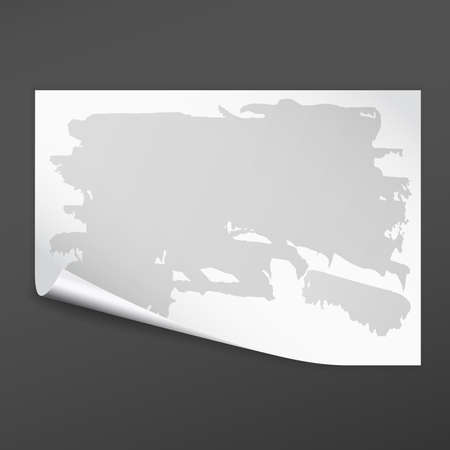 White note notebook paper with folded corner and grey stain on it. Vector illustration and black background.