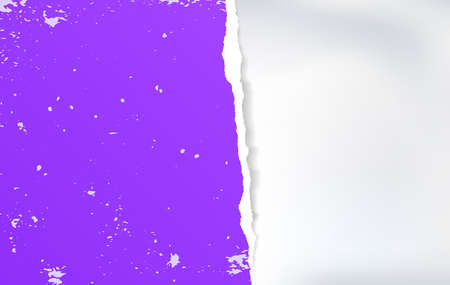 Piece of torn, ripped tattered violet note paper strip with soft shadow is on white background for message or advertising. Vector illustration.