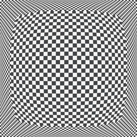Checkered sphere pattern, 3D black and white squared background. Vector illustration. 矢量图像
