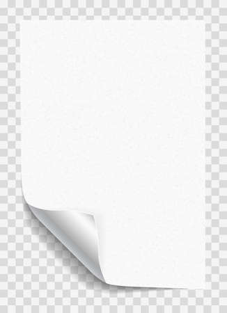 White grainy notebook paper with curled corner for text or advertising message on gray squared background.