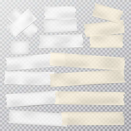 Beige and white adhesive, sticky, masking, duct tape strips for text are on squared gray background. Vector illustration 일러스트